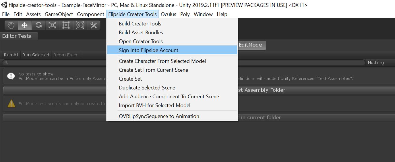 Flipside Creator Tools menu