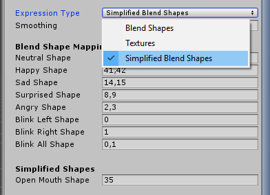 Simplified blend shape mapping