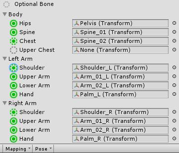 Unity bone configuration